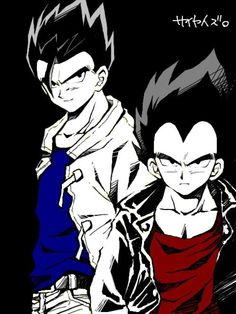 Lol cool art style of Vegeta and Gohan