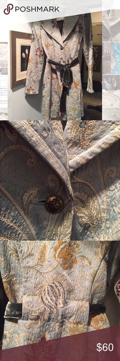 CAbi Jacobean Tapestry Floral Coat with Velvet Tie Size 6, lovely jacket. Gently used. Timeless piece. CAbi Jackets & Coats Trench Coats