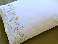 Pair of Cotton Pillowcases with Colorful Flower Vines