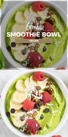 Vegan Green Smoothie Bowl Learn to make the best Green Smoothie Bowls! I like my smoothie bowls to be thick, like sorbet or soft serve ice cream! Read about how to make the perfect textured vegan green smoothie bowl! Menus Healthy, Healthy Desayunos, Healthy Smoothies, Vegetable Smoothies, Breakfast Healthy, Dinner Healthy, Eating Healthy, Clean Eating, Smoothie Bowl Vegan
