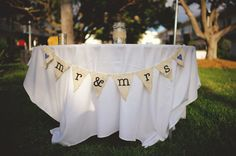 Mr & Mrs burlap wedding banner  ships free by willowbeeexpressions, $20.00