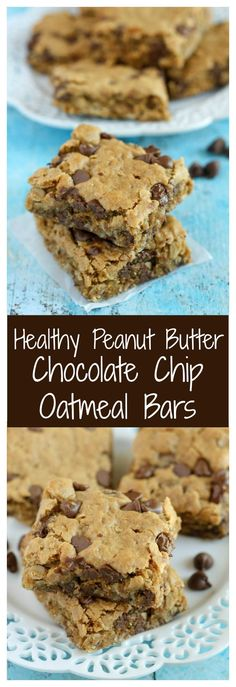 Diet Snacks Healthy Peanut Butter Chocolate Chip Oatmeal Bars~ really good! I used half the amount of sugar and dark chocolate chunks. Baked at 325 for 16 min. Healthy Deserts, Healthy Sweets, Healthy Dessert Recipes, Healthy Baking, Baking Recipes, Delicious Desserts, Yummy Food, Healthy Desserts Peanut Butter, Healthy Tasty Snacks