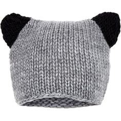 Black and Grey Ear Beanie ($4.26) ❤ liked on Polyvore featuring accessories, hats, beanies, gorros, cat ear beanie hat, oversized beanie, sport beanie hats, sport hats and sports beanie