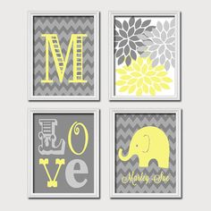 Monogram Child Name Yellow Gray Grey Elephant Chevron Flower LOVE Child Nursery Print Artwork Set of 4 Prints Girl Wall Decor Art Picture