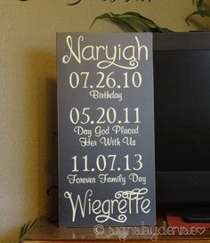 23 adoption announcement ideas worthy of sharing your joy adoption adoption sign with important dates baby sign child sign adoption day sign 12 x 24 signsbydenise negle Choice Image