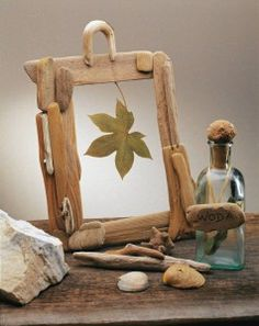 picture frame made of driftwood pieces