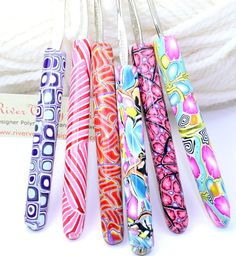 Polymer clay covered steel crochet hook set by rivervalleydesign