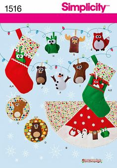 Handstitched Felt Christmas Ornaments Pattern Holiday by blue510