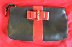 Christian Louboutin Pouch Clutch Black/Red Bow
