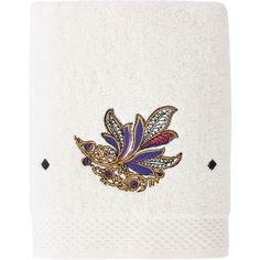 Yves Delorme Parure Ivoire towel (£119) ❤ liked on Polyvore featuring home, bed & bath, bath, bath towels, home & furniture, ivory, bath hand towels, yves delorme, patterned bath towels and embroidered bath towels