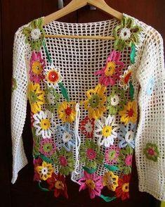 Fabulous Crochet a Little Black Crochet Dress Ideas. Georgeous Crochet a Little Black Crochet Dress Ideas. Crochet Bolero, Gilet Crochet, Crochet Coat, Crochet Jacket, Freeform Crochet, Crochet Cardigan, Crochet Granny, Irish Crochet, Crochet Clothes