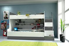 Tala Bunk Bed with 2 mattresses comes in High gloss MDF white front and grey details. Upper safety rail and storage with inner space included.
