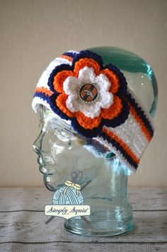 READY TO SHIP - Teen/Adult Denver Broncos Inspired Flower Earwarmer Headband with Logo Center - Football by SimplySquid on Etsy