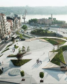 Sishane Park in Istanbul by Sanal Architects. 'Public Park with Susnet Decks, Silhouette Ramp, Theatric outdoor room and 1,000 car underground parking.'