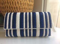再販売new☆マリンクラッチボーダーポーチショルダー Barn Wood Crafts, Punch Needle Patterns, Canvas Purse, Diy Purse, Crochet Purses, Crochet Slippers, Plastic Canvas Patterns, Handmade Bags, Purses And Bags