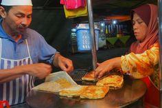 Fresh indian Roti on the hot frying pan