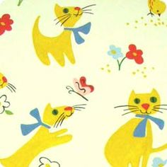 Find yellow cats fabric, kids cat fabric, childrens cat fabric, yellow kittens fabric at Warm Biscuit Bedding Company
