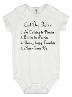 Peter Pan onesie – Lost Boy Rules – baby boy gift – baby graphic tees – disney w… Peter Pan Strampler – Lost Boy Rules – Baby Boy Geschenk – Baby Grafik T-Shirts – Disney World Shirt – nie erwachsen werden – Piraten Shirt – Peter und Wendy Baby Boys, Baby Boy Gifts, Baby Shower Gifts, Disney Onesies, Baby Disney, Disney Gift, Peter Pan, Baby Boy Outfits, Kids Outfits