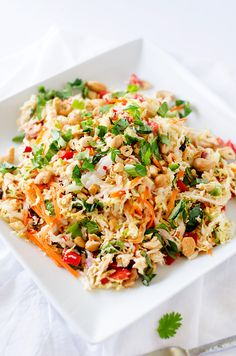 Thai Chicken Salad with Ginger Lime Dressing - This healthy salad recipe is packed with flavor and texture! Naturally gluten free and peanut free, this is a healthy meal you won't want to miss.