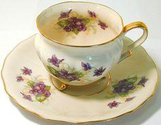 violets teacup and saucer
