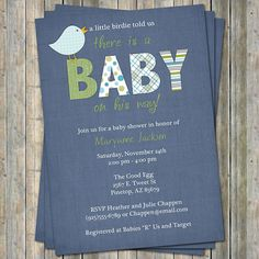 baby boy shower invitation with bird, blue background, digital, printable file on Etsy, $14.17 AUD