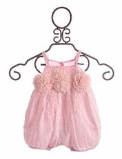 Isobella and Chloe Infant Girls Romper Embroidered Milly Pink