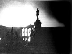 Helsingin yliopisto / University of Helsinki on fire after bombing, February 26, 1944  photo credit: Helsingin kaupunginmuseo