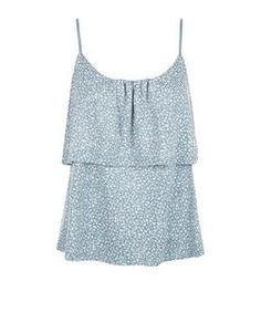 Mint Green FLoral Print Layered Cami  | New Look