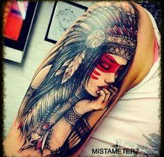 Referência: Contrastre preto e vermelho. Native American tattoo