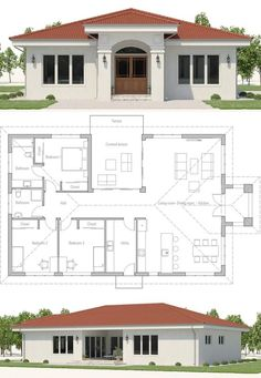 Small house plans home plans new homes floor plans smallhouseplans newhomes concepthome architecture adhouseplans dwell archdaily Model House Plan, House Layout Plans, Family House Plans, Dream House Plans, House Layouts, Small House Plans, House Floor Plans, Modern Bungalow House, Bungalow House Plans