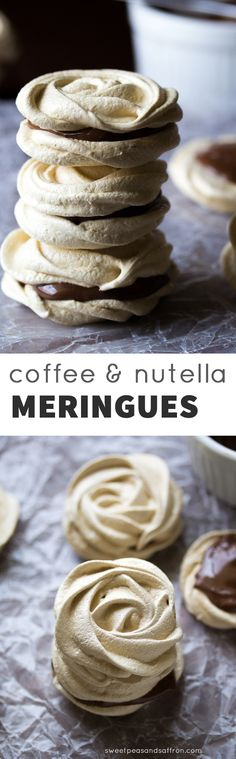 These coffee Nutella meringue cookies are a tasty lighter cookie recipe. Creamy Nutella is sandwiched between crispy, coffee-infused meringue cookies! Meringue Desserts, Meringue Cookies, Cookie Desserts, Hazelnut Meringue, Light Desserts, Just Desserts, Delicious Desserts, Dessert Recipes, Nutella Recipes