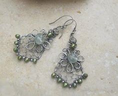 prehnite earrings in sterling with green by EdisLittleTreasures