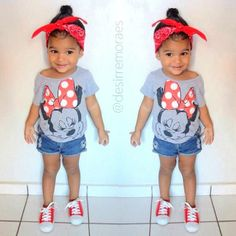 With BOW not bandana, Disney trip next year! Little Girl Outfits, Cute Outfits For Kids, Little Girl Fashion, My Little Girl, Toddler Fashion, Toddler Outfits, Disney Outfits Girls, Cute Kids, Toddler Swag
