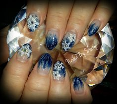 Nails snow flake and snowflakes on pinterest