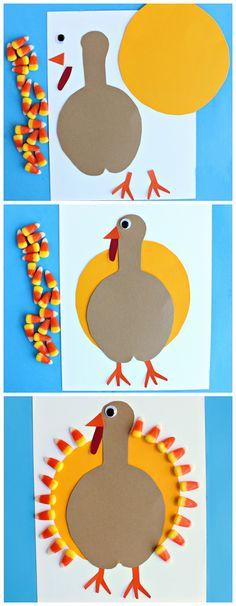 how to make this fun candy corn turkey craft for kids! It's an easy and cheap Thanksgiving art project for them to make.Learn how to make this fun candy corn turkey craft for kids! It's an easy and cheap Thanksgiving art project for them to make. Halloween Crafts, Holiday Crafts, Fun Crafts, Simple Crafts, Daycare Crafts, Classroom Crafts, Thanksgiving Art Projects, Thanksgiving Turkey, Thanksgiving Decorations