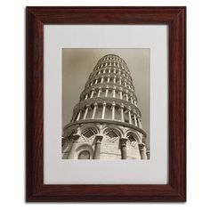 """Trademark Art """"Pisa Tower II"""" by Chris Bliss Framed Photographic Print Size: 14"""" H x 11"""" W x 0.5"""" D, Frame Color: Brown"""
