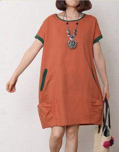 b52625c0f3 Brick red summer cotton dress short sleeve linen shift dress
