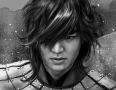 """Lee Min Ho - fan art, if his hair was """"flowing"""" like this ALL the time, I'd die...over & over & over & over...you get my point!"""