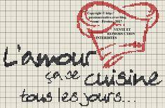 Grille gratuite point de croix : L'amour ça se cuisine... - Passion creative