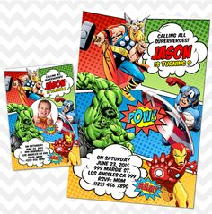 Avengers Invitation, Avengers Invites, Avengers Birthday Party Perfect for any age and last minute birthday parties. Simply message us your customization requests. 24 hours turnaround time guaranteed for proofs! ► WHAT YOU GET DIGITAL FILE - JPG file size 5x7 or 4x6 if preferred. You prin...