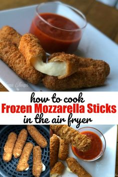 Frozen Mozzarella Sticks in Air Fryer Use your air fryer to cook frozen appetizers to perfection! These frozen mozzarella sticks cooked in the air fryer are crispy on the outside, and melted on the inside. Air Fryer Recipes Low Carb, Air Fryer Dinner Recipes, Salad Recipes, Air Fryer Recipes Appetizers, Air Fryer Recipes Breakfast, Recipes Dinner, Air Fryer Recipes Mozzarella Sticks, Frozen Appetizers, Gourmet