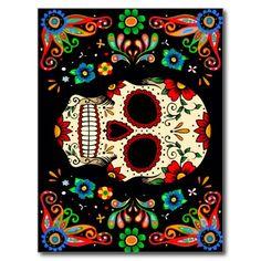 Fiesta Skull Postcard Sugar Skull Artwork, Sugar Skull Painting, Mexican Skull Art, Mexican Folk Art, Bob Marley Painting, Candy Drawing, Candy Skulls, Sugar Skulls, Painted Ukulele
