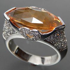 14K WHITE GOLD FACETED MARQUISE CITRINE 1.40 CTW DIAMONDS HEARTS RING - SIZE 6.75