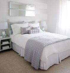 We love how the designers wanted to appeal to a wide range of ages so they chose an ultra-neutral white bed skirt-and-grey palette bed scarf -- the look is fresh but not fairy tale. The 2 long mirrors from Ikea are inexpensive yet easy to duplicate for bedroom makeover http://ift.tt/2tmbgKg #fortheloveoflinen #linen #bedlinen #tellmemore #interior4all #linenbedding #pureline #purelinenutrition #interiordecor #bedroomdecor #bedroominspiration #handmade #handmadebedding #tailoredmade…