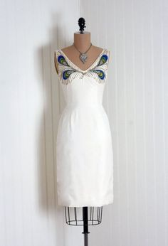 1950's Mr. Blackwell with Beaded and Rhinestoned Peacock Motif on Bodice of Ivory-White Silk Cocktail Dress