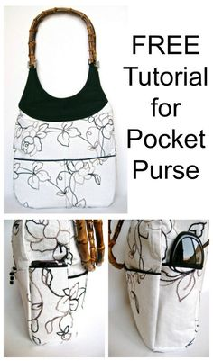 FREE Purse sewing pattern for a handbag with lots of pockets. 9 open pockets and 2 zipper pockets keep your day organised with this free bag sewing pattern. Uses ready made handles or you can sew your own bag straps. Easy bag sewing tutorial with photos. Bag Sewing Pattern, Bag Patterns To Sew, Sewing Patterns Free, Free Sewing, Wallet Pattern, Tote Pattern, Sewing Hacks, Sewing Tutorials, Sewing Tips