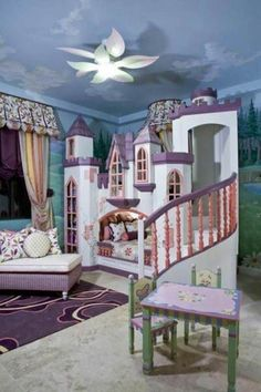 Dream princess girls bedroom with built in castle bed with spiral staircase--amazing and outrageous!
