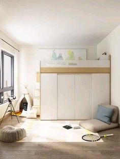 Loft Beds For Small Rooms, Small Room Design Bedroom, Small House Interior Design, Small Bedroom Designs, Bedroom Furniture Design, Room Ideas Bedroom, Home Room Design, Ideas For Small Bedrooms, Space Saving Bedroom