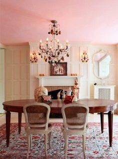 Shabby Chic Dining Room Ideas: Awesome Tables Chairs And . DIY: Cute Diy Teen Room Decor For Your Home . Bedroom: Captivating Nursery Themes For Girls With Cute . Home Design Ideas Pink Ceiling, Colored Ceiling, Ceiling Color, Color Walls, Pastel Paint Colors, Pastel Pink, Pink Dining Rooms, Living Room Decor, Living Spaces