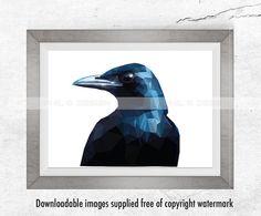 polygon art, crow printable, crow print, crow, best seller, crow, crow art, geometric, geometric crow, low poly, low poly crow, crow head